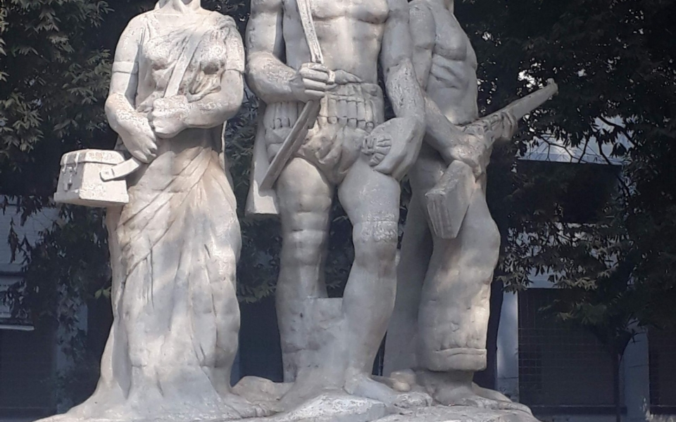 Aparajeyo Bangla sculpture commemorating the Bangladesh Liberation War, University of Dhaka, Bangladesh, January 2020