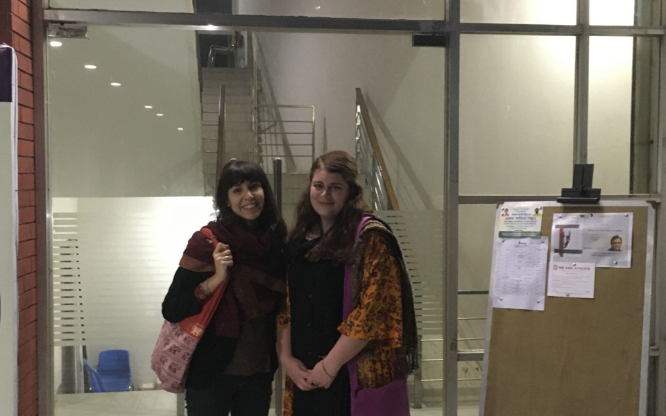Clelia and Jasmine at the entrance of the BSK, Dhaka, Bangladesh, January 2020