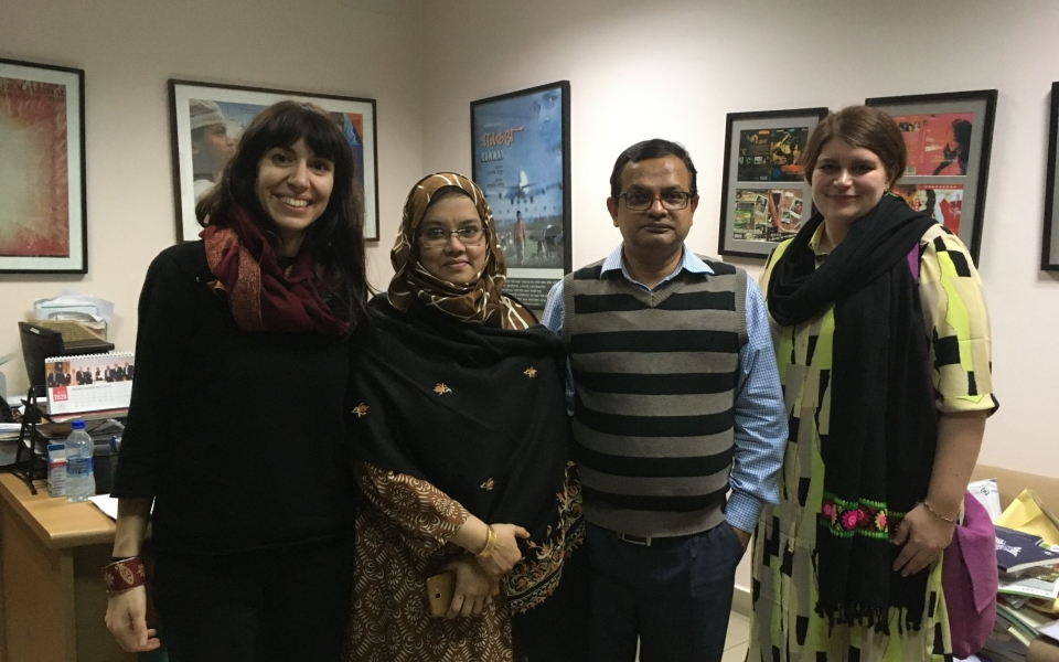 Clelia and Jasmine visiting Professor Zakir Hossein Raju at the Independent University of Bangladesh, Dhaka, Bangladesh, February 2020