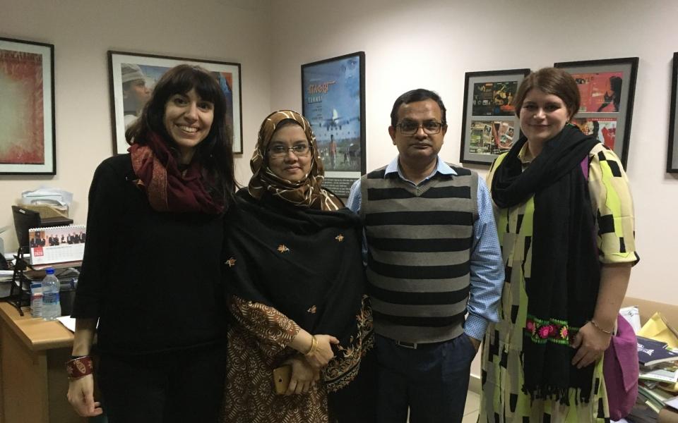 Clelia and Jasmine visiting Professor Zakir Hossein Raju at the Independent University of Bangladesh, Dhaka, Bangladesh, February 2020