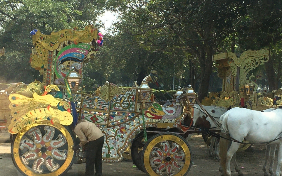 Horse carriage around the Maiden, Kolkata, India. February 2020