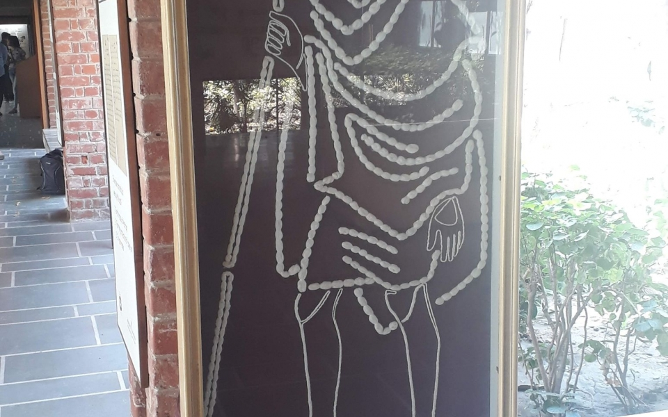 Image of Gandhi made of khadi at Gandhi Ashram, Ahmedabad, India, February 2020