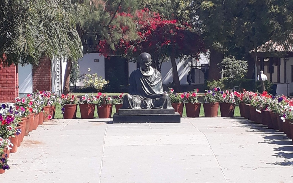 Statue of Gandhi at Gandhi Ashram, Ahmedabad, India, February 2020