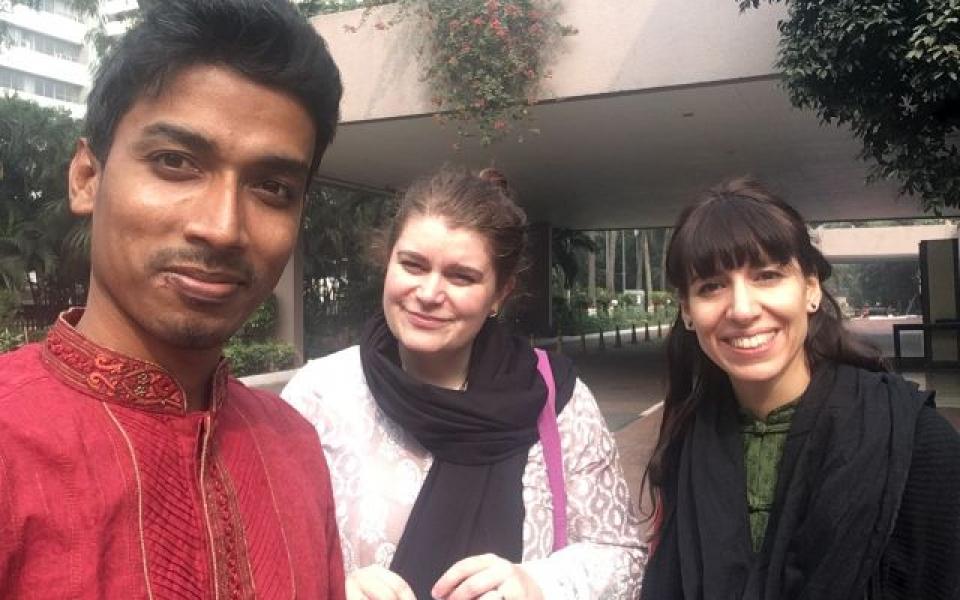 The team in Dhaka – Alomgir, Jasmine and Clelia, Dhaka, Bangladesh, January 2020