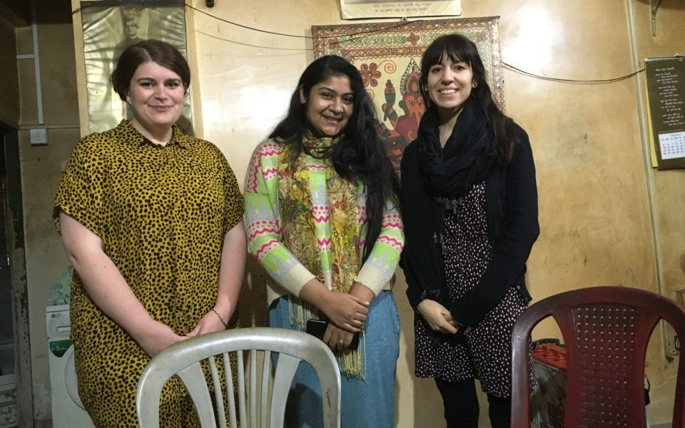 The team in Kolkata, Jasmine, Tias and Clelia. Kolkata, India, February 2020